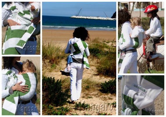 w collage bandolera rayas verdes